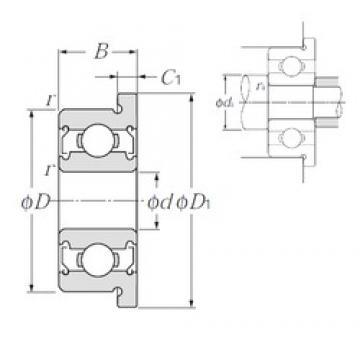 3,175 mm x 6,35 mm x 2,779 mm  NTN FLR144ZZA deep groove ball bearings